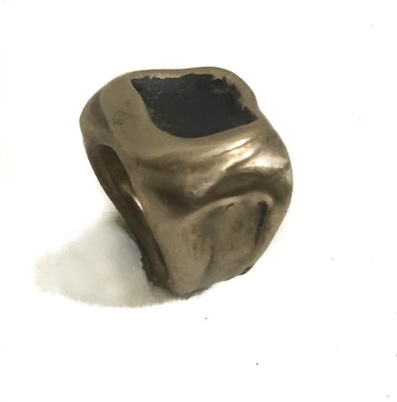 New Item, New Spring Collection CONTEMPORARY Brass Throne Signet Ring, Oxidized Finish, Bohemian Brooklyn, NYC style, hand-formed unisex