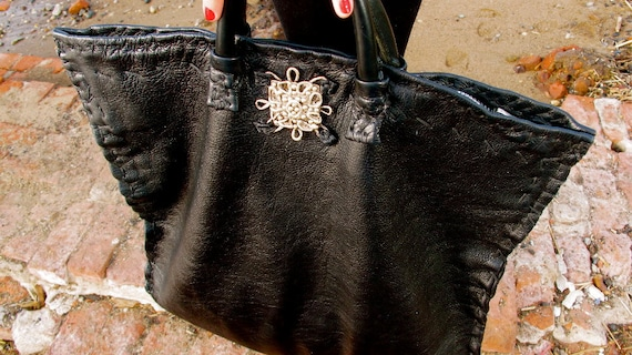 On Sale, Large Black Goth Tote with a Sterling Silver .925 Victorian Embellishment - made-to-order, game of thrones, anglomania, made in usa