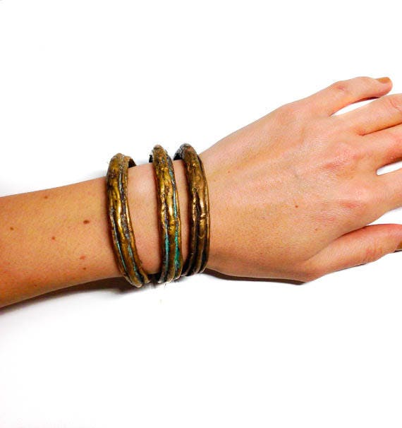Pompeii Brass Stackable Bracelets -- handmade and limited edition bangles, ON SALE, price listed is per bangle, women's bracelet, men's cuff
