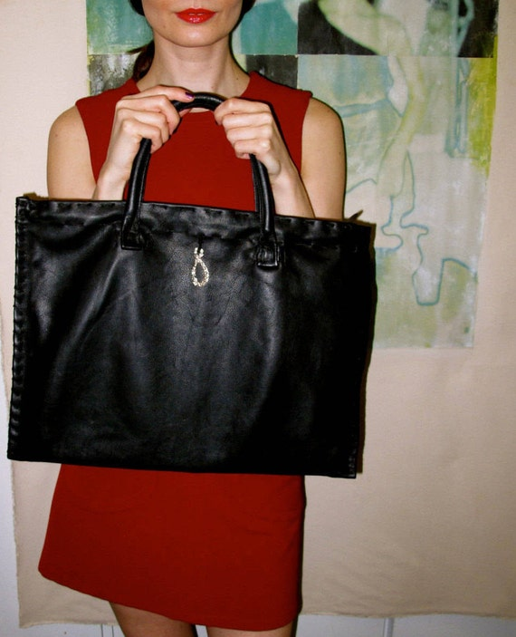 Best-Seller, Handmade, Limited Edition Medium Black Minimalist Leather Tote with a silver-plated Tear Drop embellishment