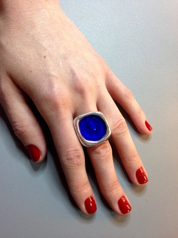 Gorgeous Enameled Sterling Silver Pool Ring, size 7