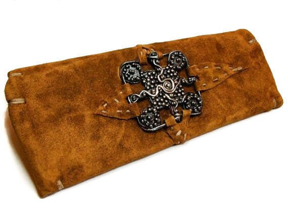 Reduced -- Aspen-St. Moritz Clutch in Suede with Reclaimed Mink lining with Sterling Silver adornment
