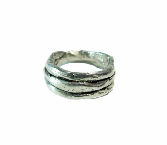 Men's Sterling Silver .925 Three-Layer Band Ring, size 11