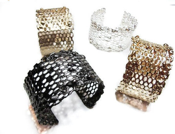 Modern Honeycomb Cuff is available only in brass and gold
