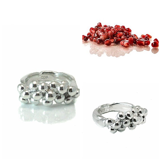 Our Best-Seller, Pomegranate Women's Ring available in silver, gold, and hematite, jewelry on sale, spring collection, stackable beauty