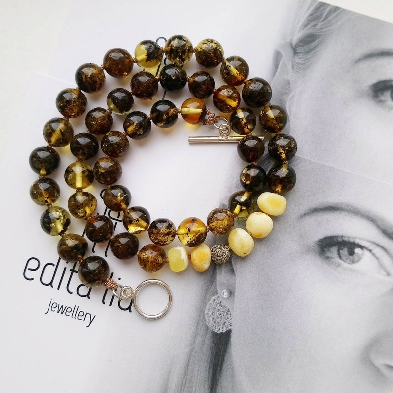 Asymmetrical Knotted Baltic Amber Necklace. Beaded Green Amber Necklace