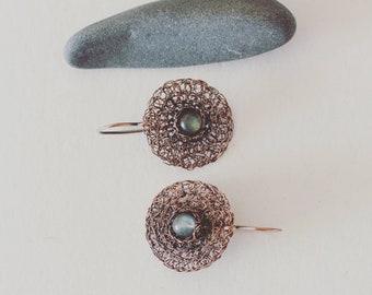 Labradorite Earrings. Oxidized Copper Earrings. Copper Dangle Earrings. Circle Earrings. Delicate Earrings. Wire Crochet Jewellery.
