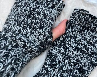 Sweeney Todd Knitted fingerless gloves unisex one size gift autumn fall winter unisex men's stripe goth black warm grey mittens fingerless