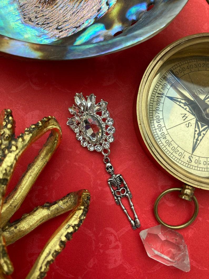 Sir Wilmington\u2019s Medal skeleton brooch diamant\u00e9 crystal costume jewelry Lolita steampunk gothic aristocrat drag Halloween vampire count