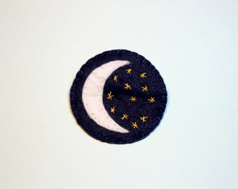 Stitched Moon Badge - Embroidered Moon And Stars Brooch