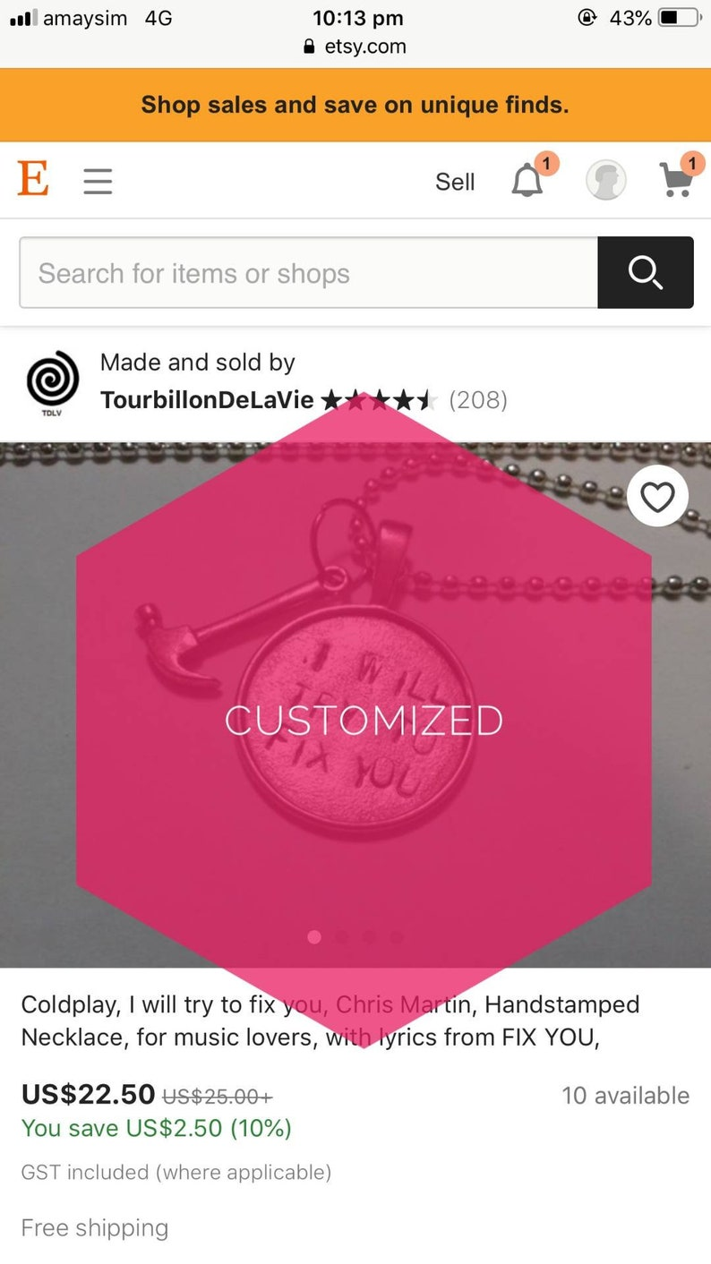Customized round necklace with the lyrics from star treatment image 0