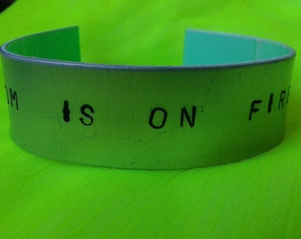 The room is on fire - The Strokes - Julian Casablancas - Reptilia - Handstamped bracalet with quote