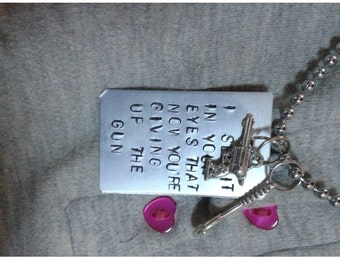 I see it in your eyes that now you're giving up the gun - Vampire Weekend - Ezra Koenig - Handstamped Charm with Necklace