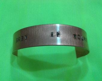 Arctic Monkeys bracelet handstamped, Baby I'm Yours gift, Alex Turner Jewellery, Arctic Monkeys Merchandising