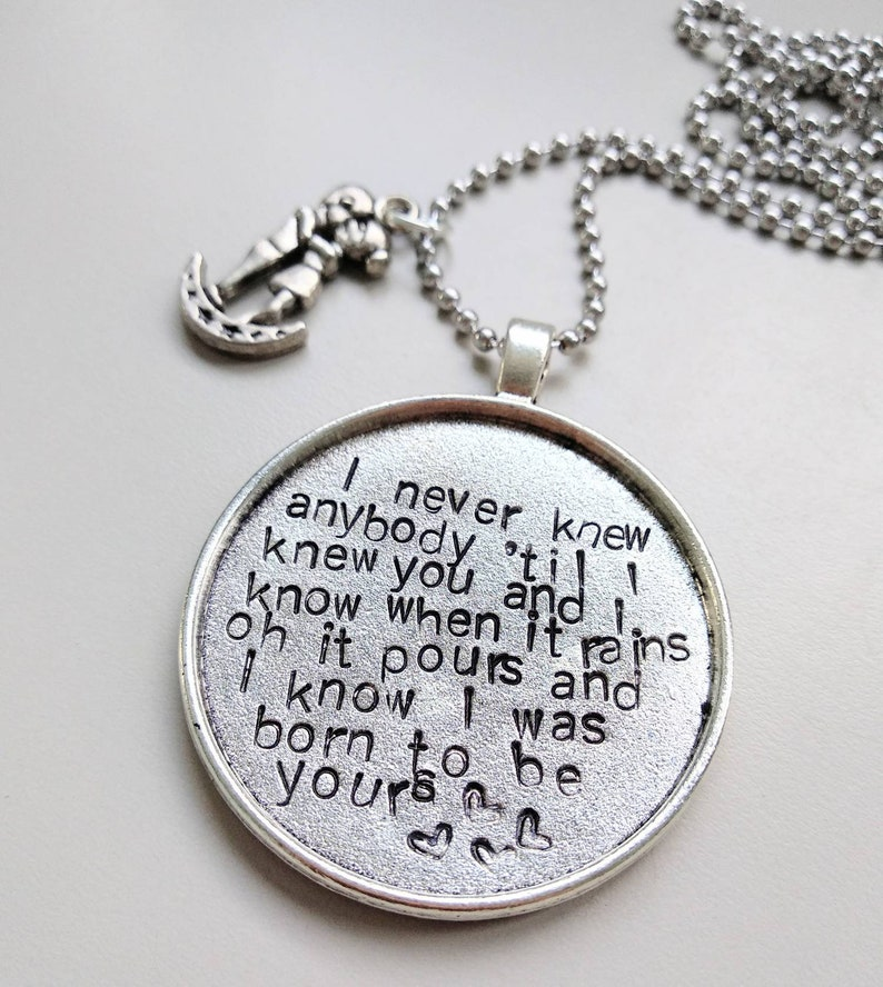 born to be yours Imagine Dragons handstamped necklace image 0