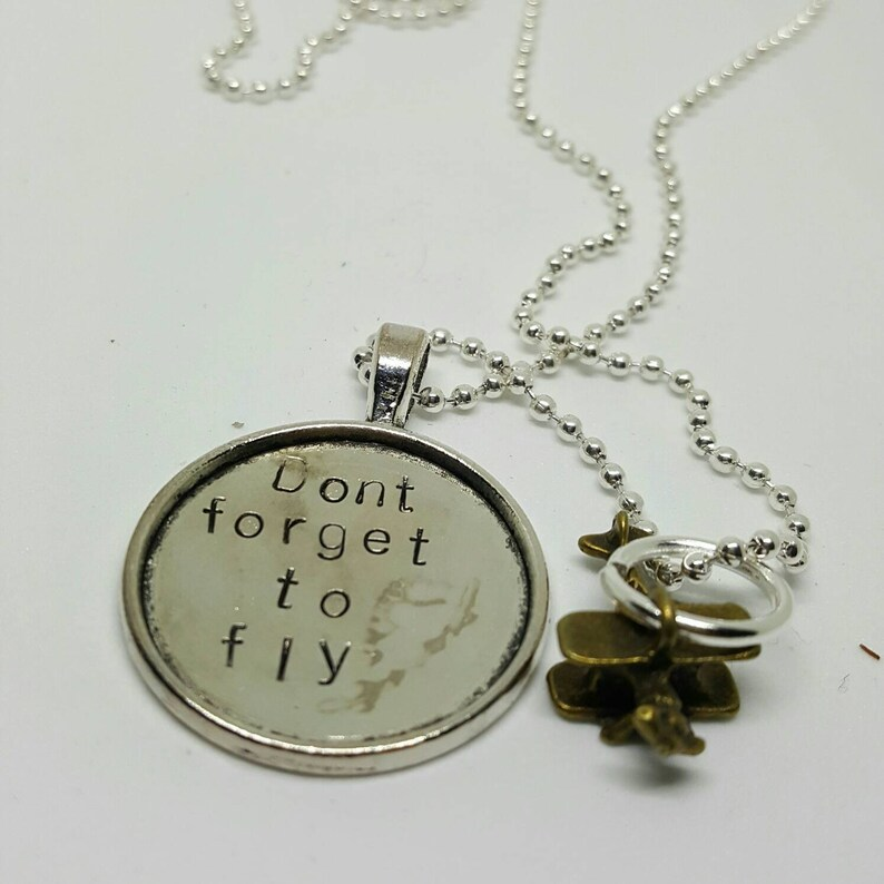 Don't forget to fly  plane charm  handstamped necklace image 0