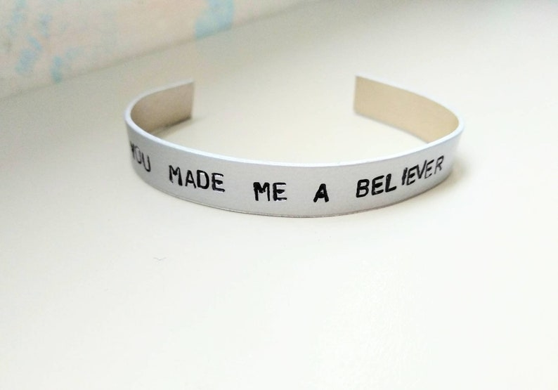 Imagine Dragons you made me a believer bracelet handstamped image 0