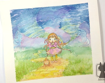 Wizard of Oz art - original watercolor painting - Dorothy and Toto illustration - children illustration wall art