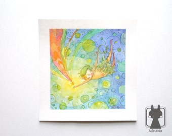 Peter Pan illustration - book fanart - original watercolor - rainbow falling star