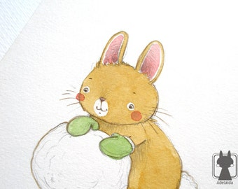 Rabbit holiday decor - original watercolor illustration - snow winter art - small painting