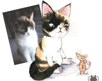 """Painting from photograph - portrait painting of your pet - custom animal art - 4"""" x 4"""" - small gift idea"""