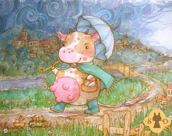 Watercolor painting - rainy day walk - cow with umbrella - large artwork - kids room decor
