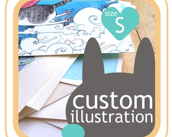 Custom picture - custom portrait, custom pet illustration - your idea made into picture - size S, 4 inch