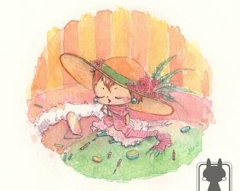 Small girl artwork - girl nursery decor - original painting - watercolor art - kids room decor