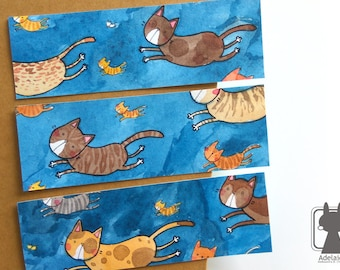 Hand painted paper bookmark - flying cat bookmarks - two-sided watercolor bookmarks for cat lovers - super cat