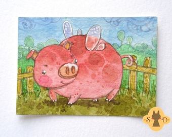 Sweet fat pink pig - ACEO small illustration - Fairy Piggy