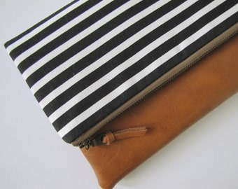 Foldover Clutch, Vegan Leather Clutch Bag, Modern Black Clutch Purse, Gift for friend, Holiday gift for her, Gift for her