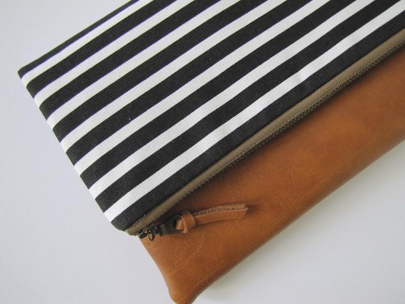 Foldover Clutch Vegan Leather Clutch Bag Modern Black Clutch image 0