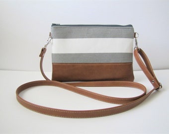 Crossbody Bag, Grey Stripe Cross body wallet, Vegan Crossbody Purse, Gift for wife, Gift for friend, Holiday gift for her, Mothers Day Gift