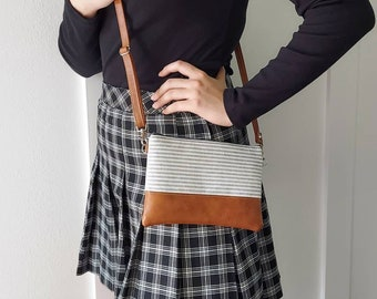 Crossbody Bag, Cross body Purse, Vegan Purse, Grey Stripe Linen bag, holiday gift for her, gift for wife, gift for her
