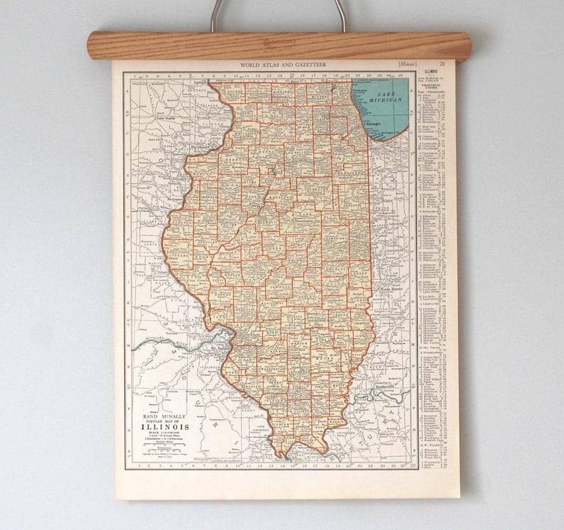 Vintage Maps of Illinois and Indiana  1930s Antique U.S. image 0