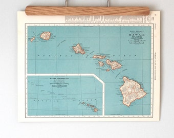 Vintage Maps of Hawaii and the Panama Canal   1930s Vintage Map Wall Art   Antique map color print   Gift for travel lovers