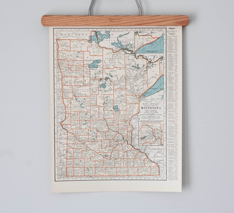 Vintage Maps Of Minnesota And Mississippi 1930s Antique Us Etsy - Minnesota-in-us-map