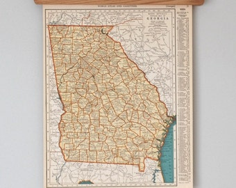 Vintage Maps of Georgia and Idaho | 1930s Antique U.S. State Maps Wall Art | Antique map color print, circa 1936