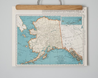 Vintage Maps of Alaska and Wyoming | 1930s Antique U.S. State Maps Wall Art | Antique map color print, circa 1936