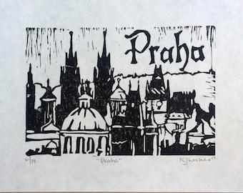 Praha linogravure originale