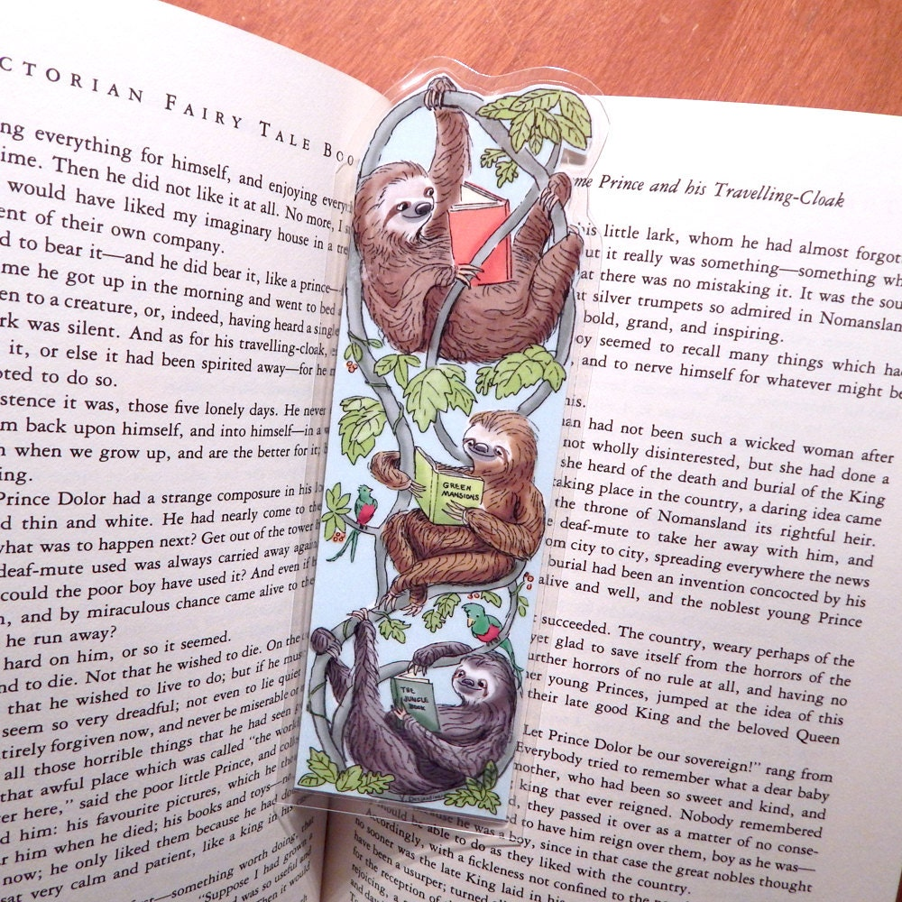 Reading Sloths Laminated Bookmark Etsy