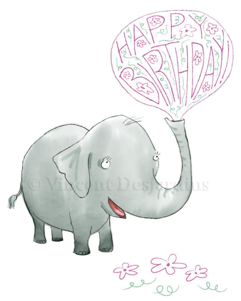 Gelukkige Verjaardag Olifant Birthday Card Originele Etsy