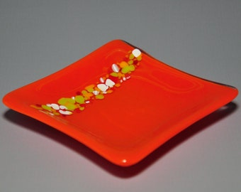 Bright Orange Glass Dish
