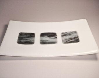 Black on White Sushi Dish