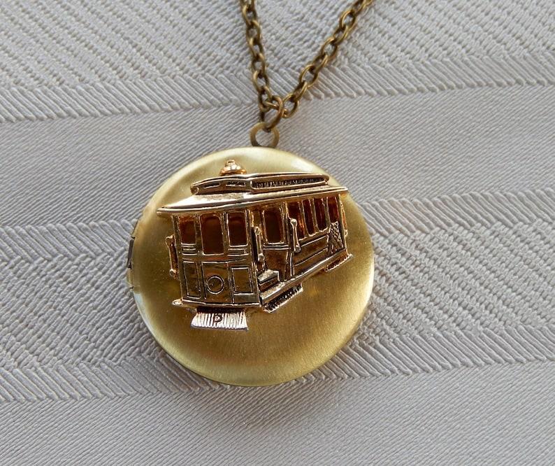 Trolley Locket Locket Necklace Vintage Trolley Gift for Her