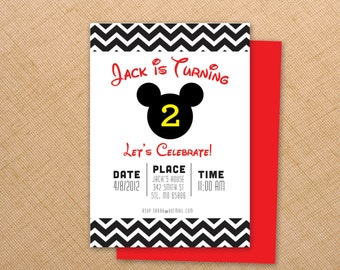 Mickey Mouse Birthday  Invites - 5x7 Digital file - Print at your convenience