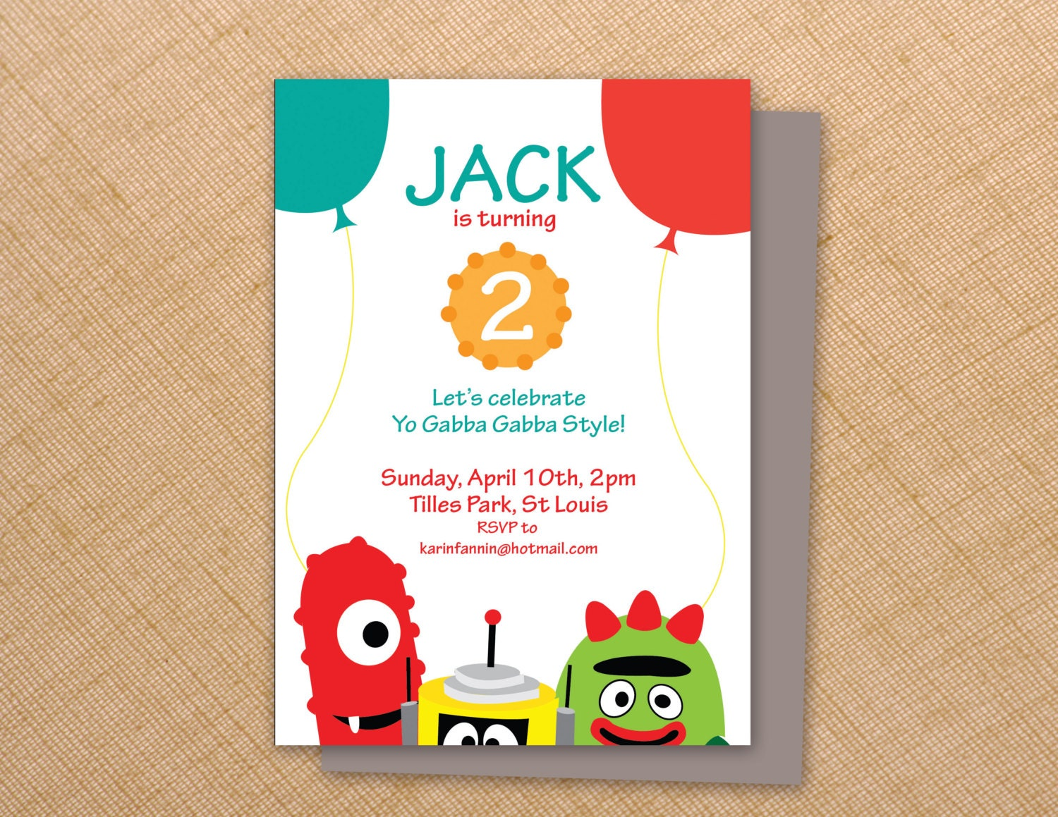 Yo Gabba Gabba Birthday Invites 5x7 Digital File Print At Etsy