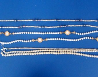 Lot Of Three Costume White Beaded Necklaces
