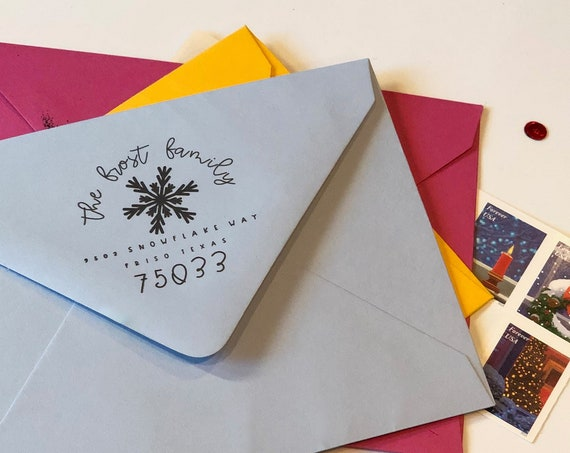 Personalized Holiday Snowflake Square Address Stamp
