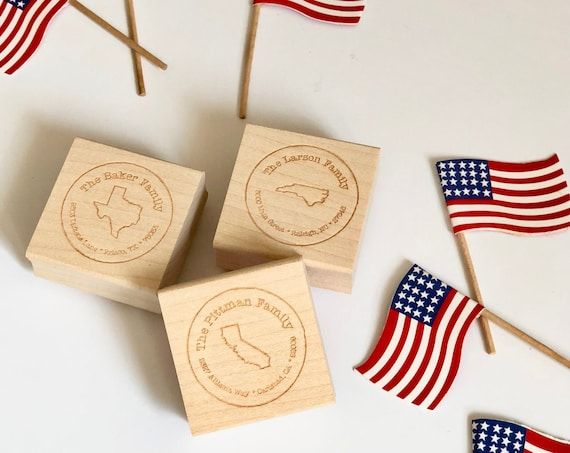 Personalized State Square Address Stamp